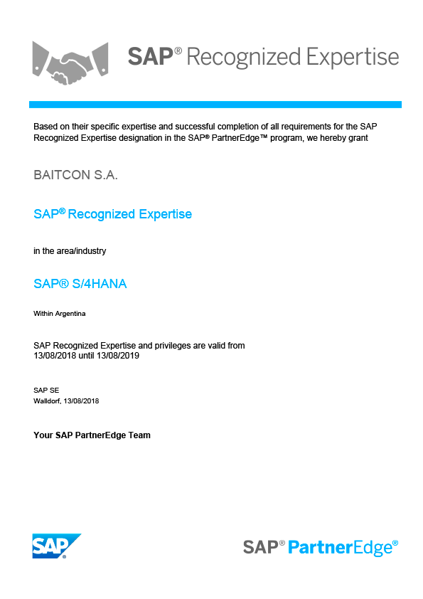 SAP Recognized Expertise in SAP S/4HANA